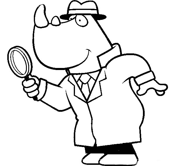600x569 Cartoon Of A Rhino Detective Using A Magnifying Glass Coloring