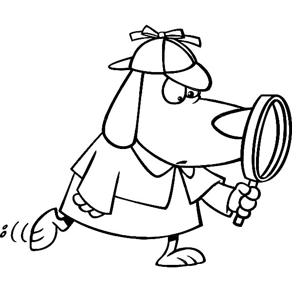 600x612 Detective Dog With Magnifying Glass Coloring Page