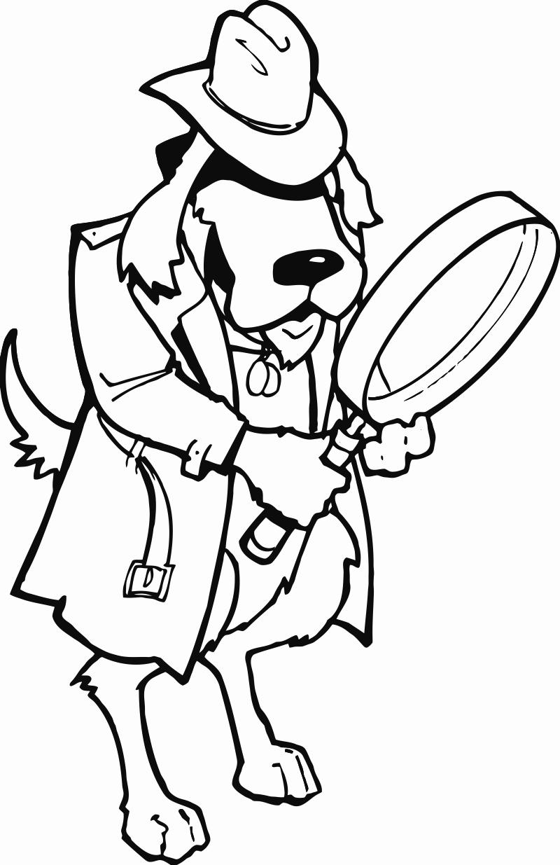 800x1235 Dog Magnifying Glass Printable Image Illustration Sketch For Dog