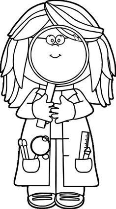 236x423 Scientist With Big Magnifying Glass Coloring Sheet For Down Time