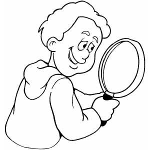 300x300 Boy With Magnifying Glass Coloring Sheet
