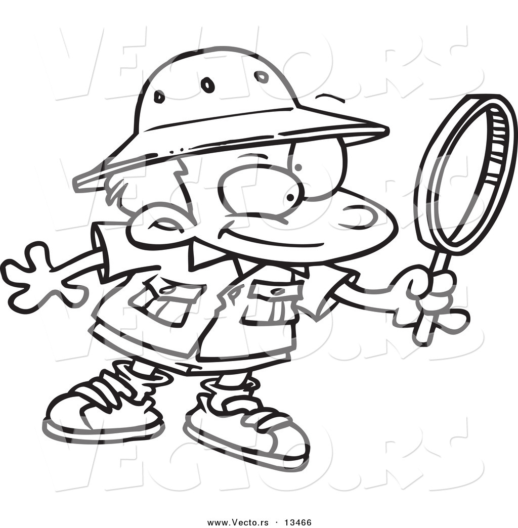 1024x1044 Vector Of A Cartoon Archaeology Boy Using A Magnifying Glass