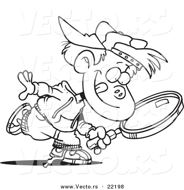 600x620 Vector Of A Cartoon Boy Seeking With A Magnifying Glass