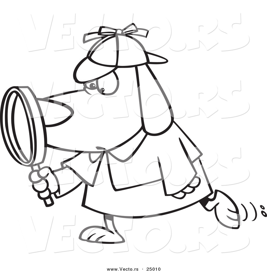 1024x1044 Vector Of A Cartoon Sleuth Dog Using A Magnifying Glass