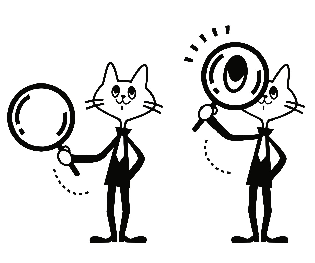 1235x1030 Business Cat Searching For Something With A Magnifying Glass