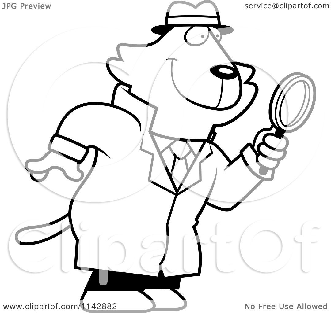 1080x1024 Cartoon Clipart Of Blacknd White Cat Detective Using