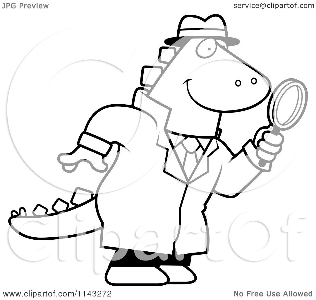 1080x1024 Cartoon Clipart Of Blacknd White Dinosaur Detective Using