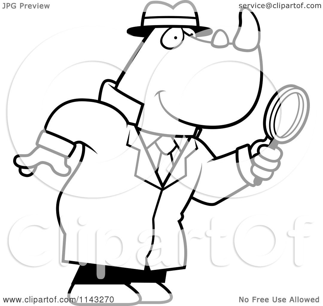 1080x1024 Cartoon Clipart Of Blacknd White Rhino Detective Using