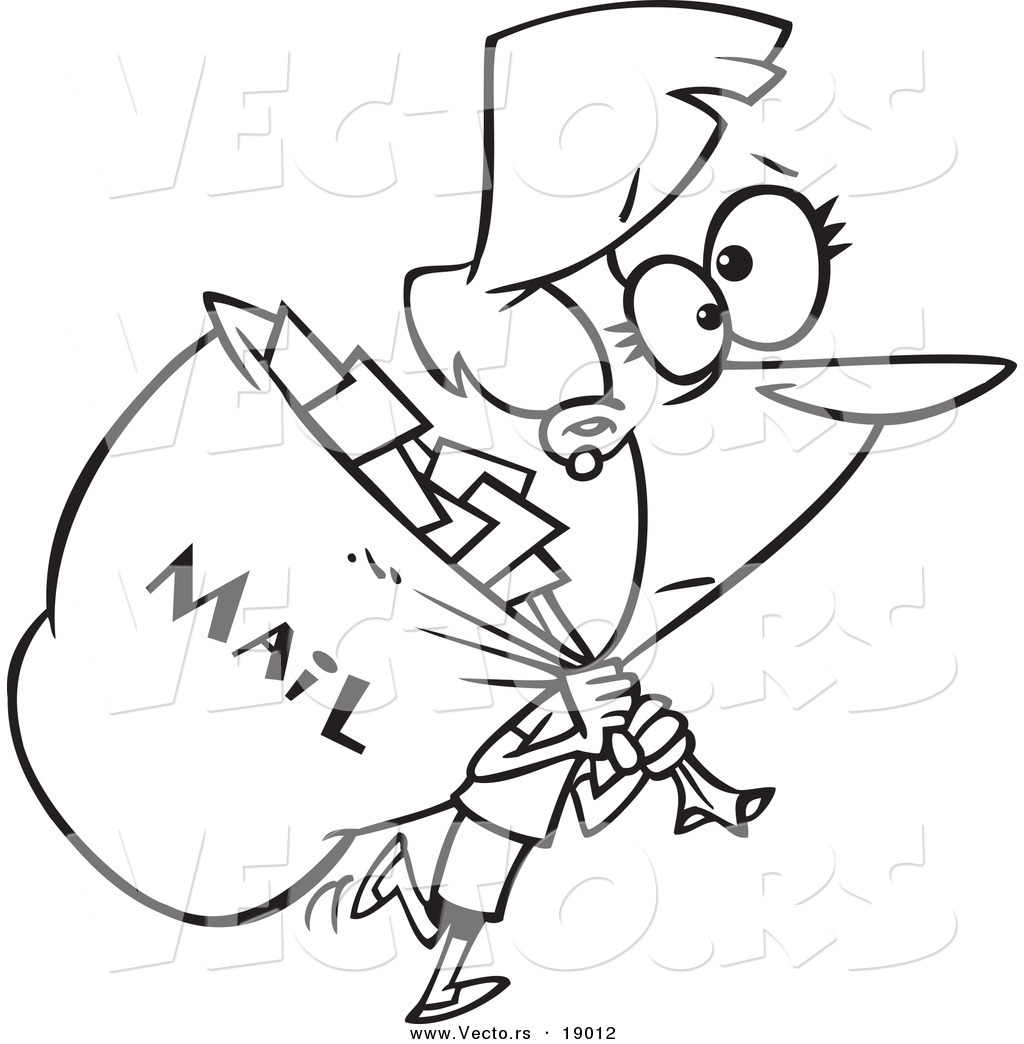 1024x1044 Vector Of A Cartoon Mail Woman Carrying A Big Bag
