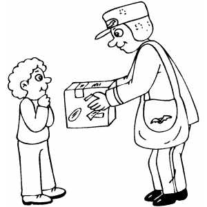 300x300 Postman Delivering Gift Coloring Page