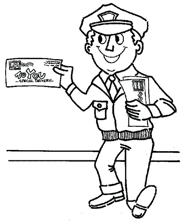 600x735 Community Helpers Coloring Pages Nurse Postman Is Smiling In Page