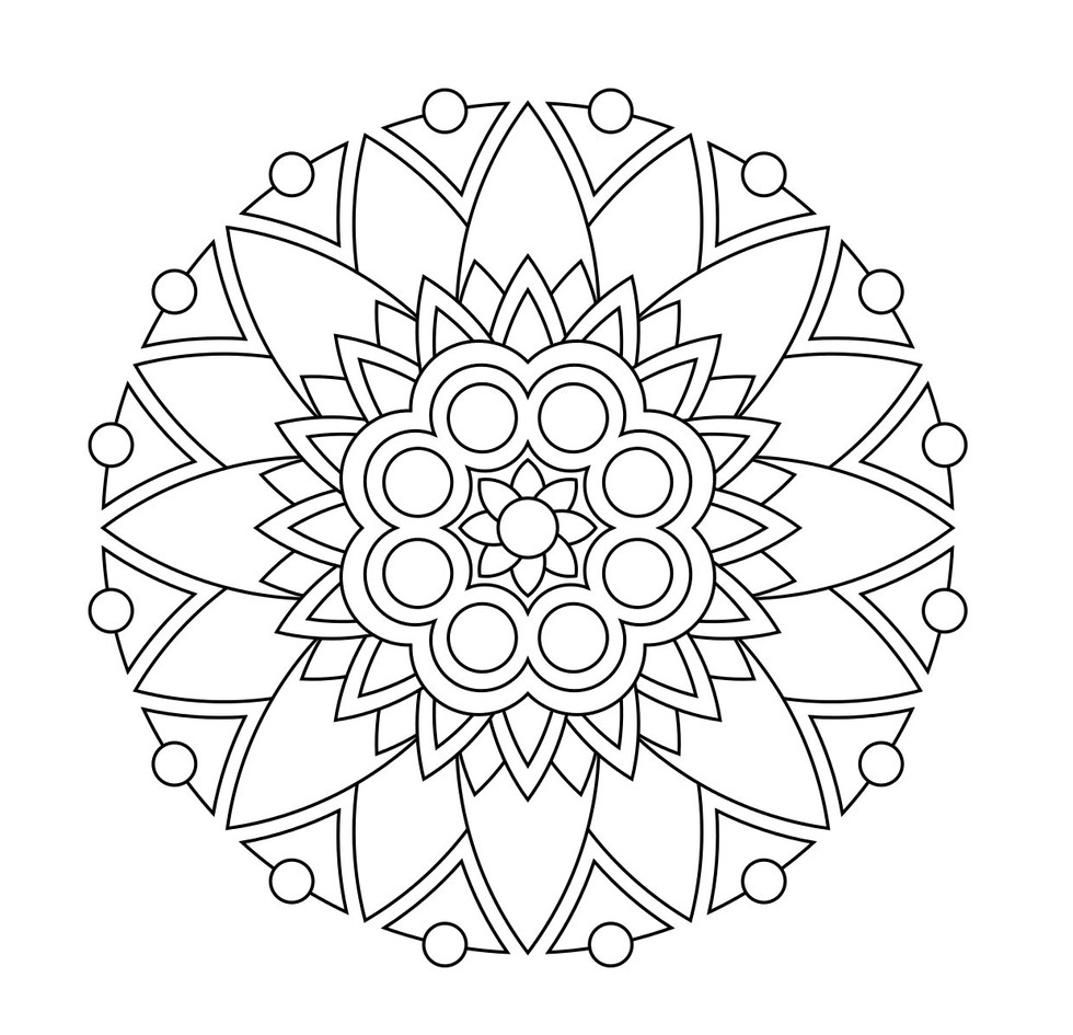 980x945 Fashionable Inspiration Coloring Pages Mandala Drawing Flower
