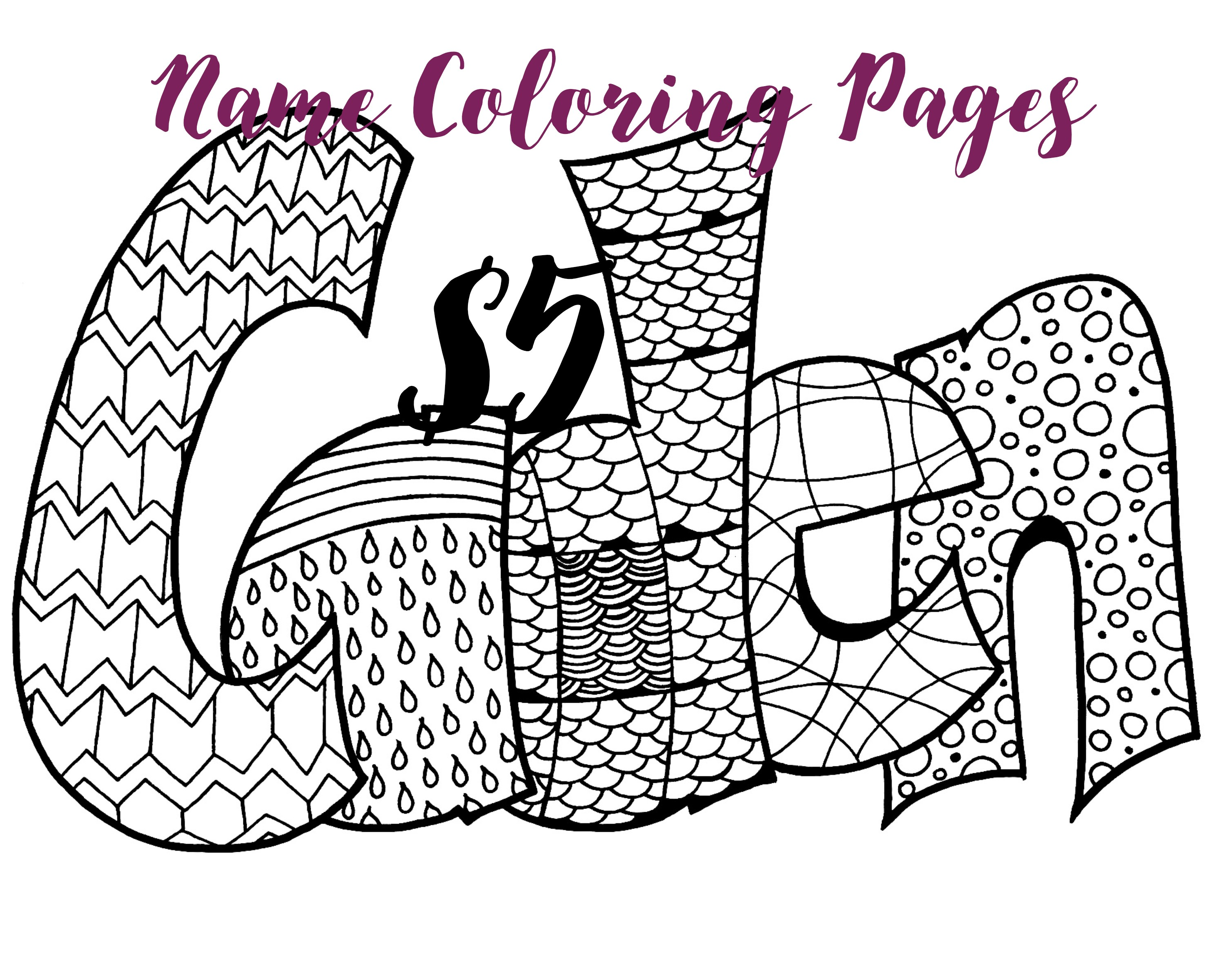 3000x2400 Make Your Own Name Coloring Pages That Say Names Free Draw