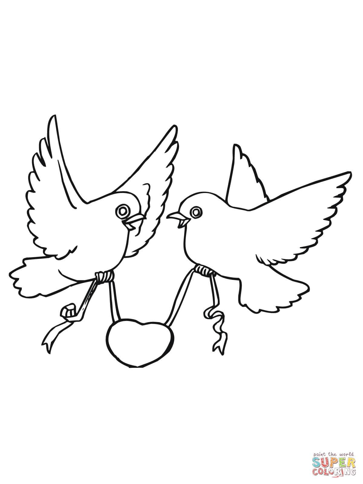 1200x1600 Shocking Love Birds With Hearts Coloring Page Printable Pics