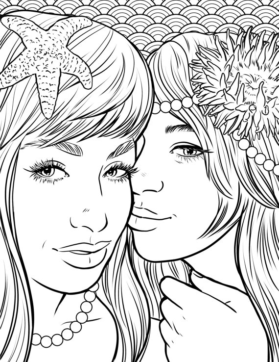 570x738 Pretty Mermaids Makeup Coloring Page