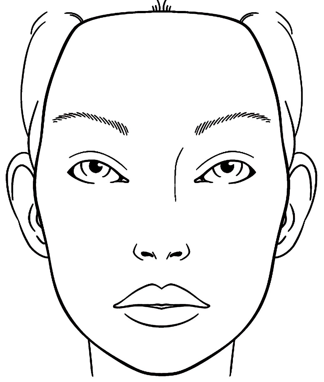 1035x1219 Blank Face Chart Sketch Coloring Page Teagan