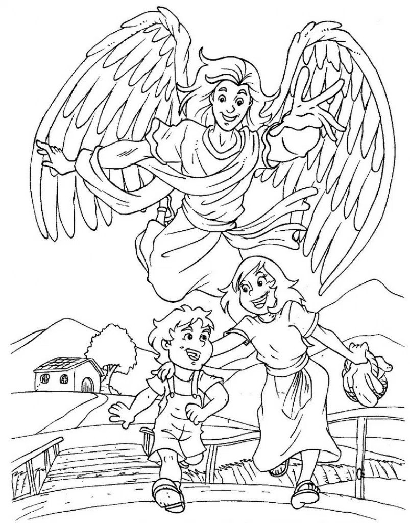 803x1024 Male Guardian Angel Coloring Page Az Pages With In Inside Acpra