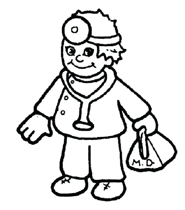 600x682 Nursing Coloring Pages Male Nurse Coloring Page Stock Cartoon