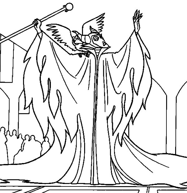 600x619 Maleficent, Maleficent Is Angry To King Stefan Coloring Pages