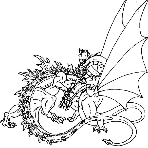 600x600 Great Fight Of Godzilla And Dragon Coloring Pages Color Luna