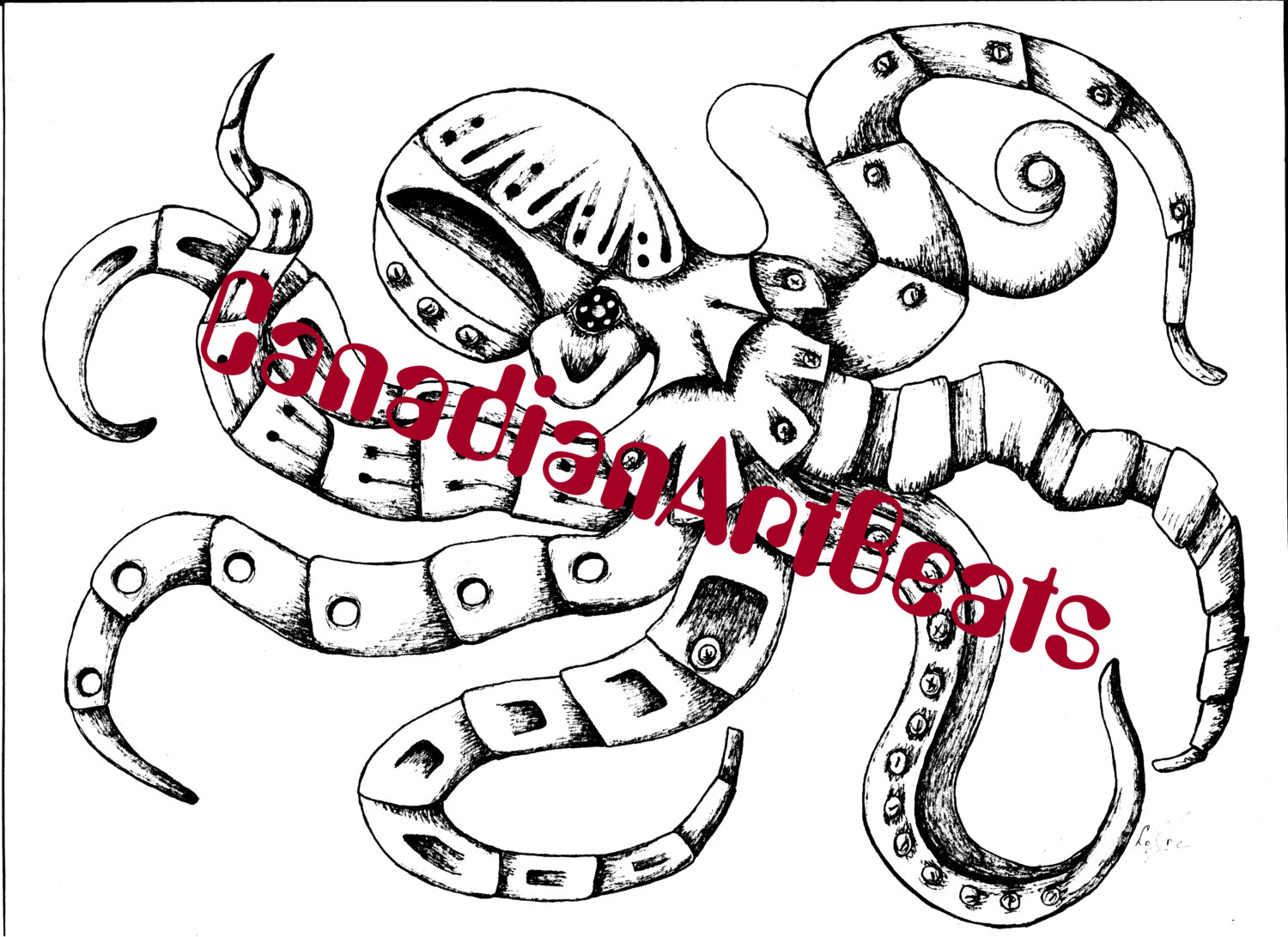 1500x1091 Printable Steampunk Octopus Coloring Page