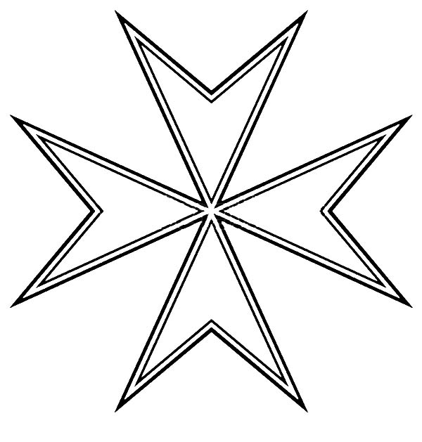 600x629 The Knight Hospitaller Maltese Cross Coloring Pages Batch Coloring