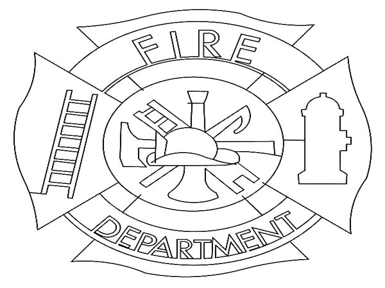 1280x960 Fire Department Coloring Pages Maltese Cross