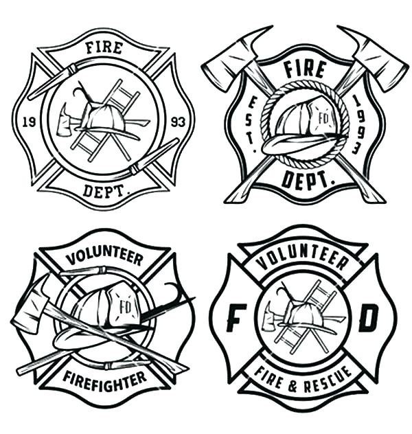 600x632 Firefighter Badge Coloring Page Badges Coloring Pages Free