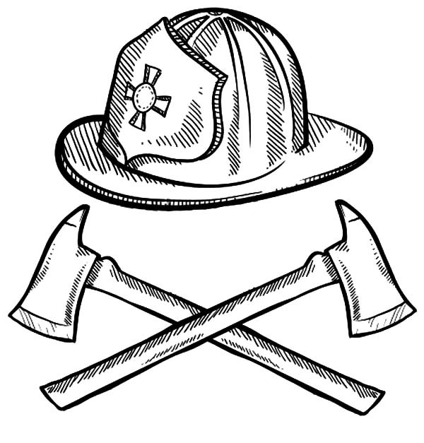 600x627 Firefighter Hat Coloring Page Coloring Page For Kids