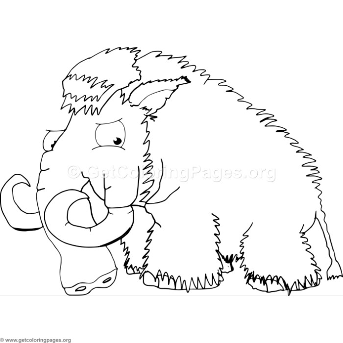 700x700 Cartoon Mammoth Coloring Pages