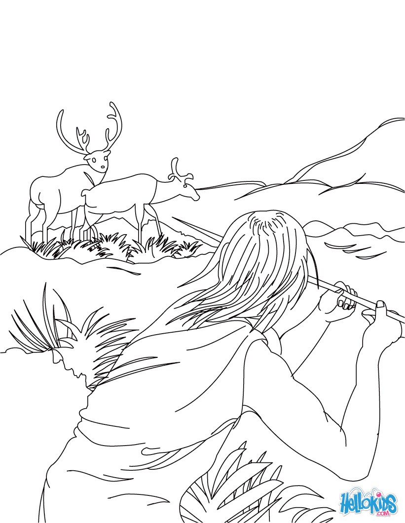 821x1061 Homo Sapiens Group Hunting Mammoth Coloring Pages