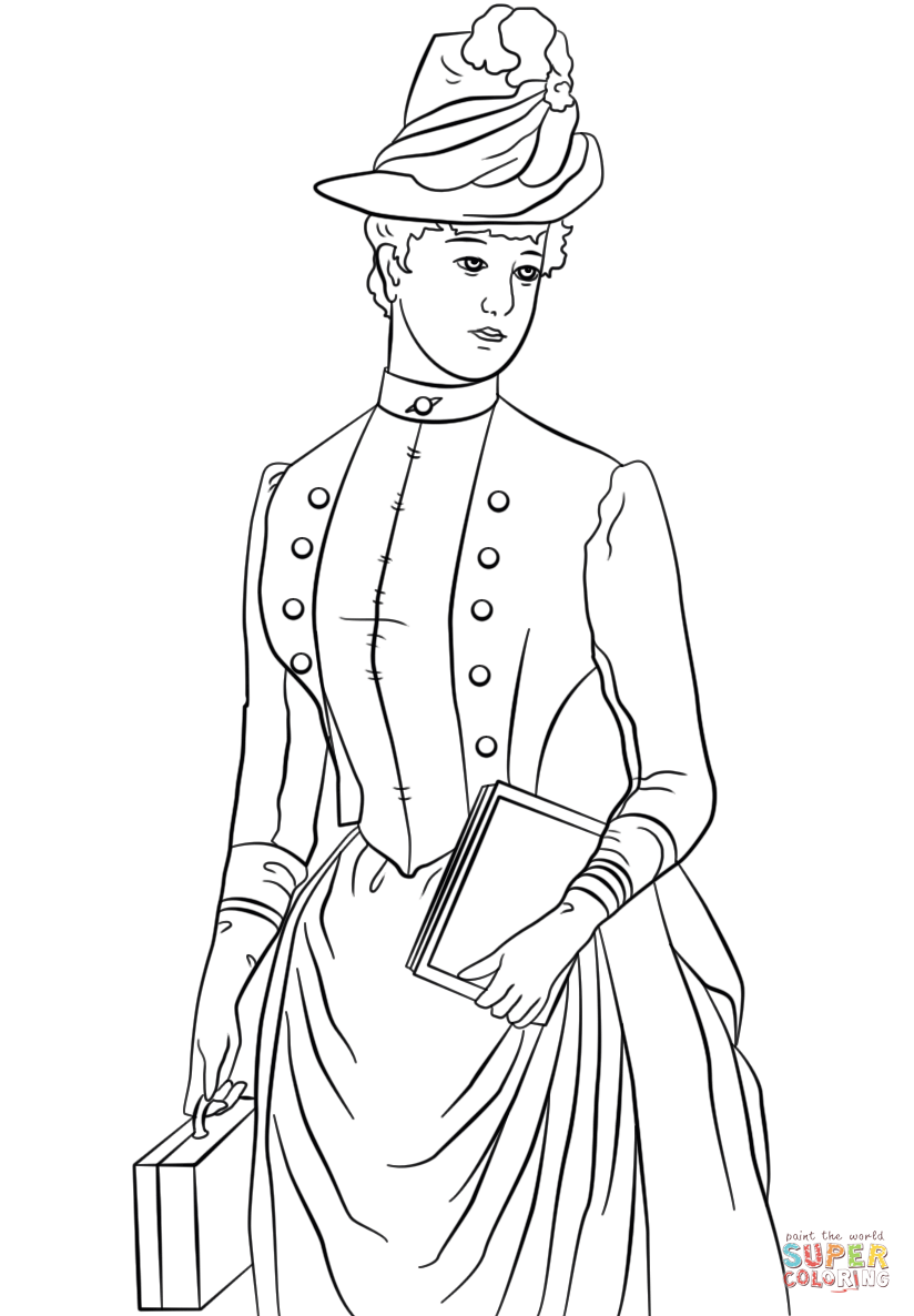 824x1186 Victorian Lady Coloring Page Free Printable Coloring Pages