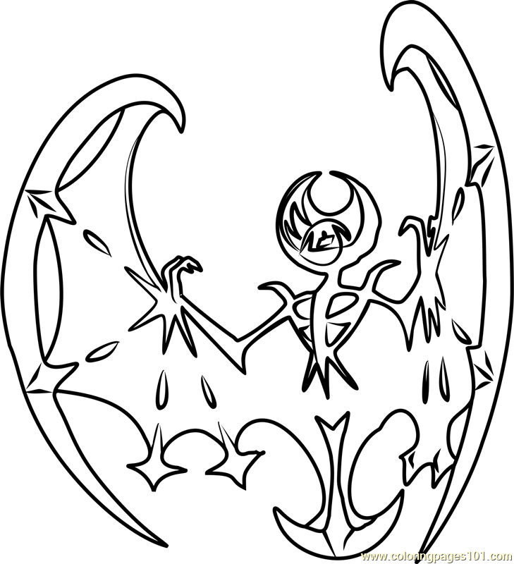 729x800 Lunala Pokemon Sun And Moon Coloring Page