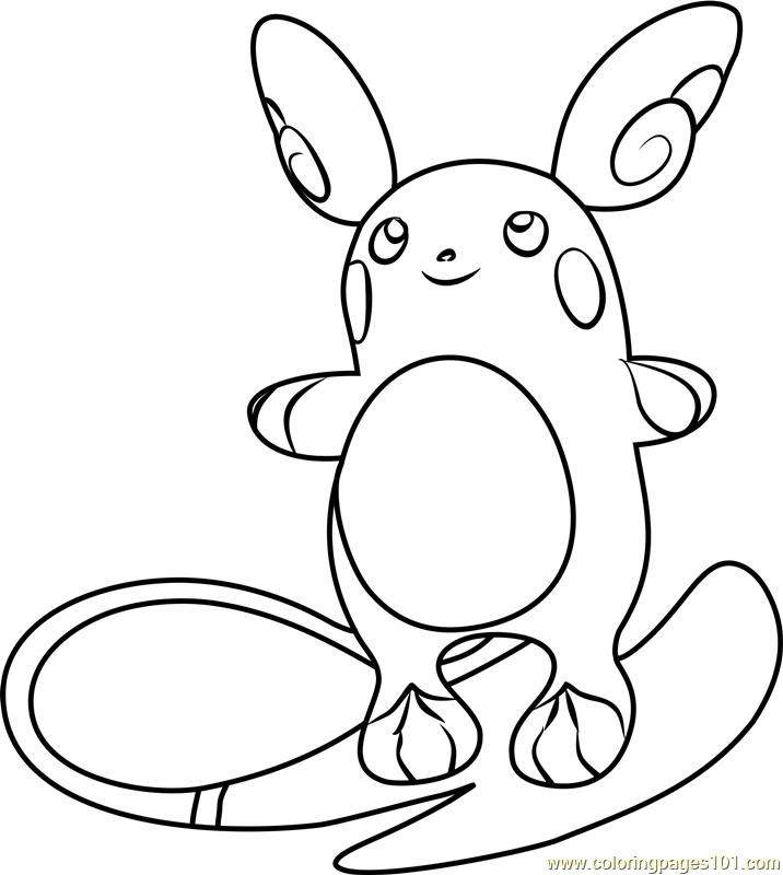716x800 Alola Raichu Pokemon Sun And Moon Coloring Page