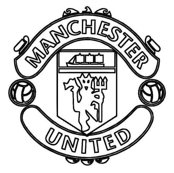 600x597 Manchester United Logo Soccer Coloring Pages