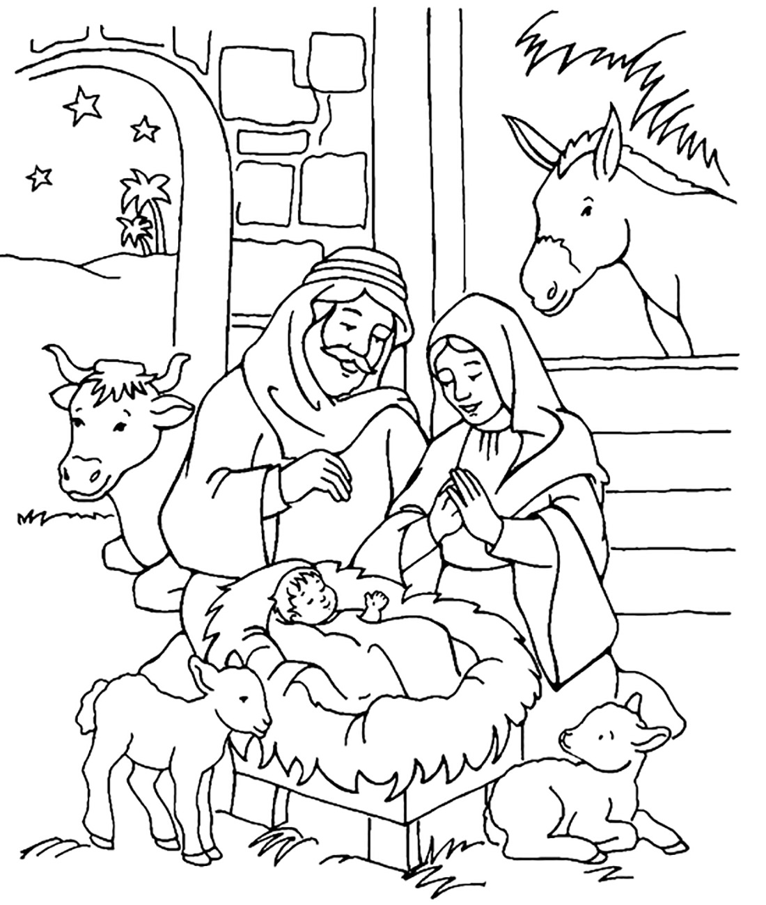 1100x1300 Manger Coloring Page