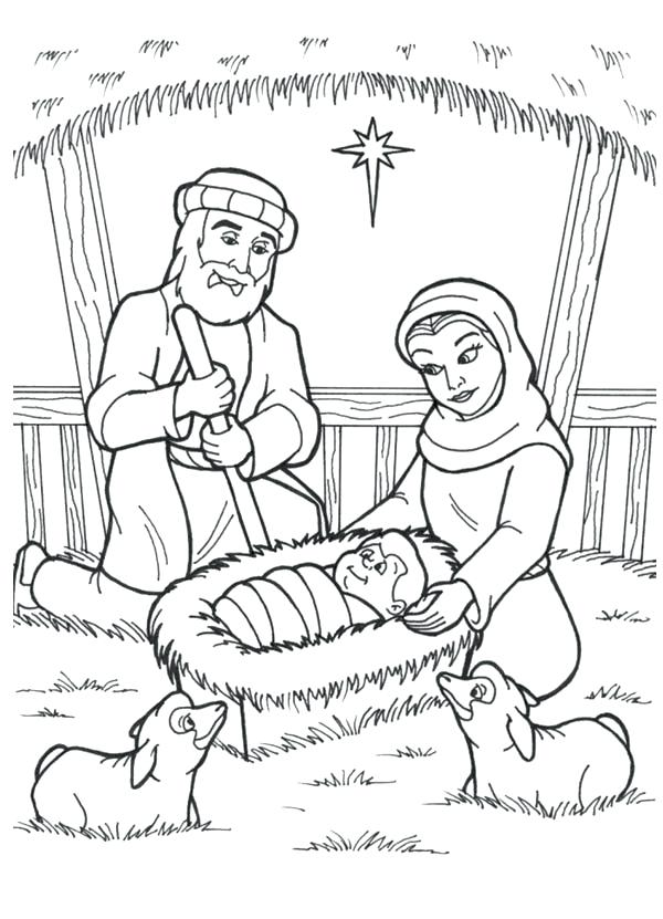 600x831 Manger Coloring Page Is Born In A Manger In Nativity Coloring Page