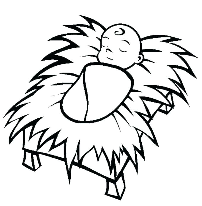 680x693 Manger Coloring Pages To Print Manger Coloring Page Baby In Manger