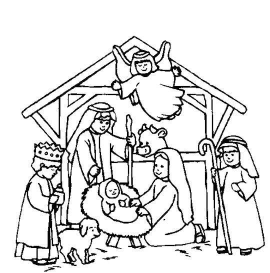 540x546 Manger Scene Coloring Page