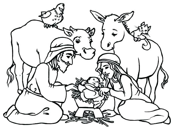 600x457 Nativity Colouring Pages Printable