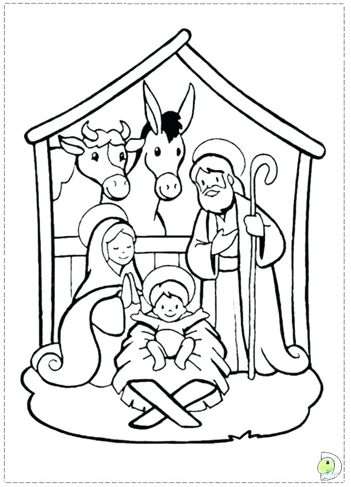 691x960 Nativity Scene Coloring Pages