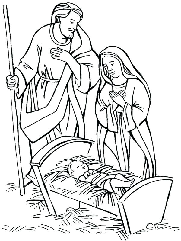 600x798 Baby Jesus Manger Coloring Page And Coloring Pages Nativity Born