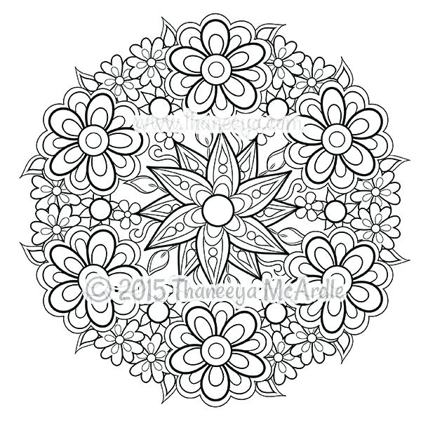 600x600 Flower Mandalas Coloring Book