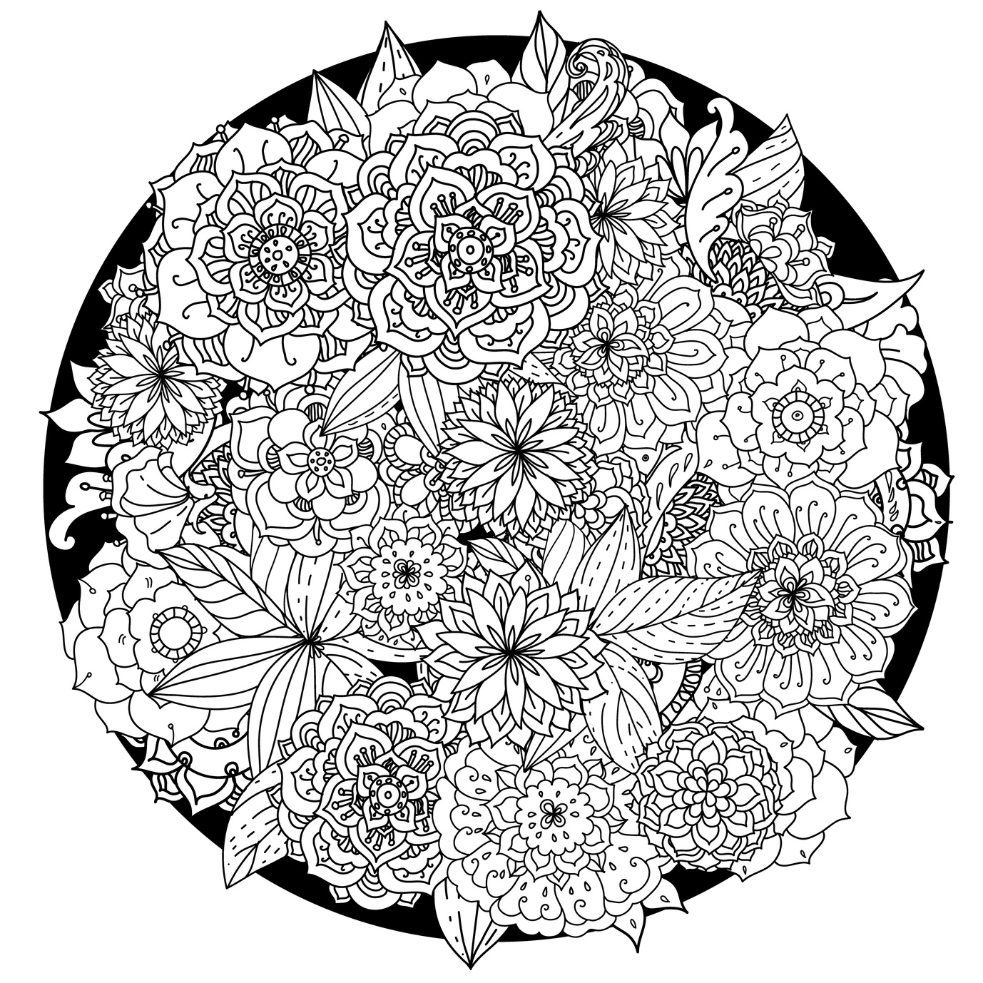 1378x1378 New Mandala Flower Coloring Pages Collection Printable Coloring