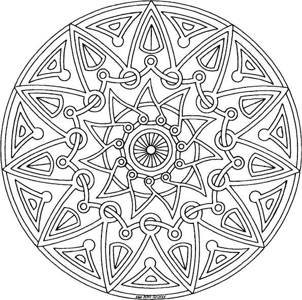595x591 Aztec Mandala Coloring Pages