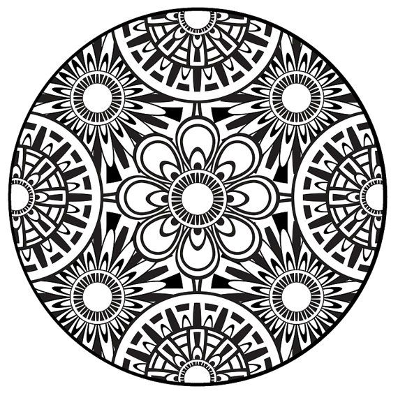 570x570 Coloring Page, Mandala, Instant Pdf Download, Printable Coloring