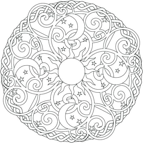 600x600 Mandala Coloring Pages Advanced Level Printable Mandalas Sun