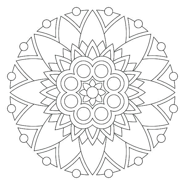 600x600 Coloring Pages Mandala