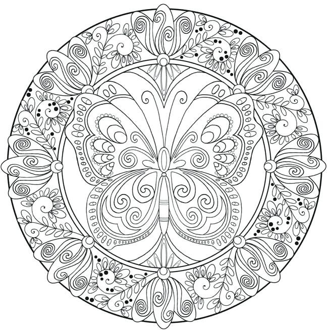 650x655 Awesome Flower Mandala Coloring Pages And Creative Haven Butterfly