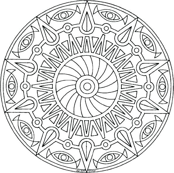 595x590 Mandala Coloring Pages Online
